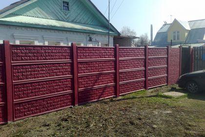 Установка бетонного забора для частного дома в п.Большое Козино
